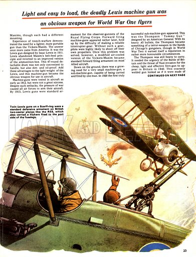 The Story of the Gun: The Conveyer-Belt Killers. Twin Lewis guns mounted on a British two-seater RE8 plane.
