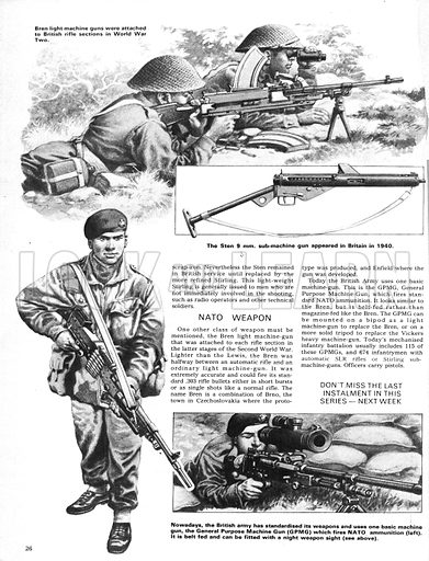 The Story of the Gun: The Conveyer-Belt Killers. The Bren light machine gun of World War II with (inset) the Sten 9mm sub-machine gun; (Bottom left) the GPMG(General Purpose Machine Gun) used in modern warfare (inset) fitted with a night sight.