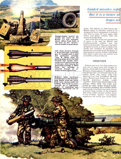 """The Story of the Gun: Front Line Fighters. (Top) Wedge-shaped """"quoins"""" absorbed the recaoil of British 7.2 inch howitzer guns; (Centre) Cross-section through a Kromuskit-type recoilless gun; (Bottom) The Wombat, a recoilless anti-tank gun."""