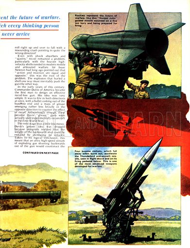 "The Story of the Gun: Front Line Fighters. (Top) The ""Honest John"" Rocket can be fired from a lorry; (centre and bottom) Four booster rockets accelerate the Thunderbird anti-aircraft missile."