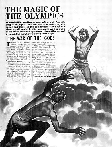 The Magic of the Olympics: The War of the Gods. From Greek myth: Kronos battles with his son Zeus for control of Olympus, home of the Gods.