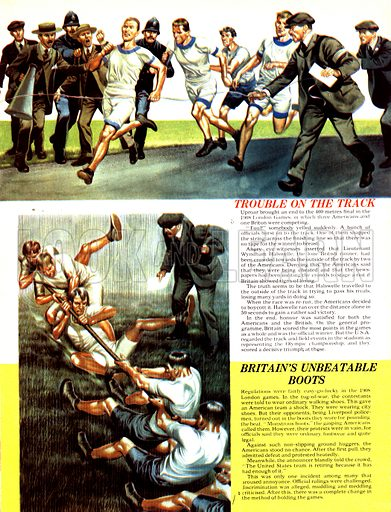 """The Magic of the Olympics: Trouble on the Track. (Top) Lieutenant Wyndham Halswelle was almost crowded off the running track by three American runners in the 1908 London Olympic Games; (Bottom) When officials told tug-of-war competitors to wear """"ordinary walking shoes"""" the policemen who made up the British team wore their boots."""