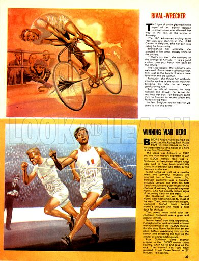 The Magic of the Olympics: Rival-Wrecker. (Top) A Belgian woman spiked the bike of a rival to her son during the cycle race at the 1920 games; (Bottom) J. Guillemot was the winner of the 5,000 metre race at Antwerp in 1920.
