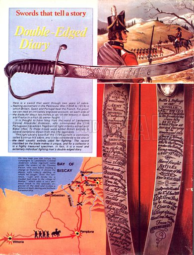 Swords That Tell a Story: Double-Edged Diary. The sword of Colonel Alexander Anderson commanded the Portuguese Cacadores Regiment during the Peninsular War with (inset) map of the campaign.