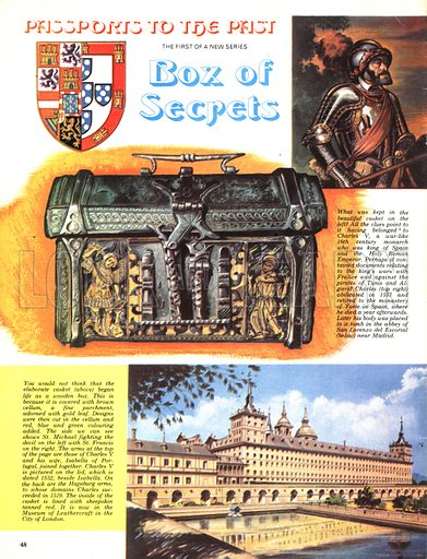 Passports to the Past: Box of Secrets. The casket (left) belonged to Charles V(top) whose body was entombed at the abbey of San Lorenzo del Escorial near Madrid (bottom).
