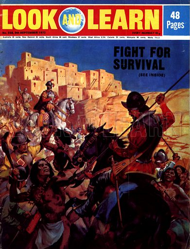 Fight for Survival. The Pueblo Indians of North Arizona attacked by Spanish Conquistadors.