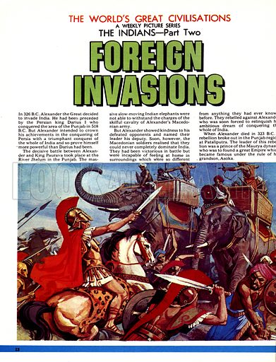 The World's Great Civilisations. The Indians: Foreign Invasions. Alexander the Great attacks India.