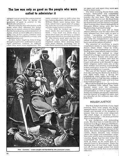 """The Law of the Land: The Unjust Judges. Under the command of Roger, Bishop of Salisbury, who was the first Justiciar under Henry I, the army scoured the country looking for """"coiners"""" circulating valueless coins; taken to a special court in Winchester, the guilty men had their right hands cut off."""