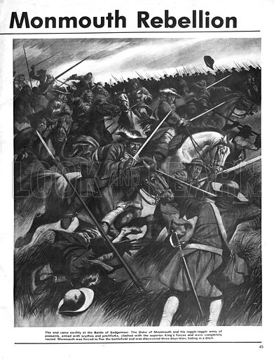 The Monmouth Rebellion. Scene from the Battle of Sedgemoor.
