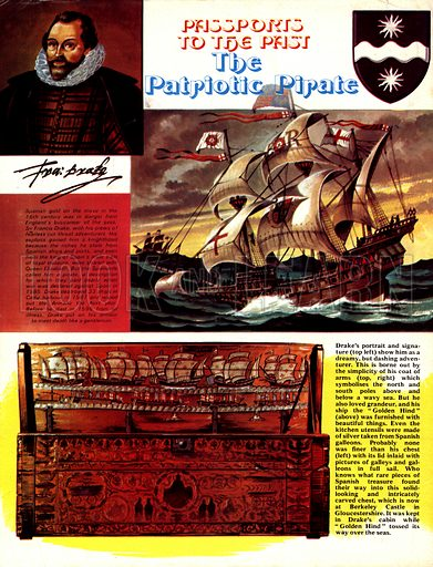 Passports to the Past: The Patriotic Pirate. Sir Francis Drake (pictured top left above his signature) loved grandure and the Golden Hind (top) was furnished with beautiful things, including his chest (bottom left) with its lid inlaid with pictures of galleys and galleons.