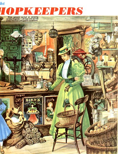 Life With the Victorians: A Nation of Shopkeepers. Victorian woman visiting a grocery shop.