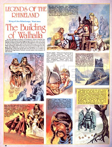 Legends of the Rhineland: The Building of Walhalla. Cheated by Woton after building a castle for him, the frost giants learn of Alberich and the Rhine Gold.