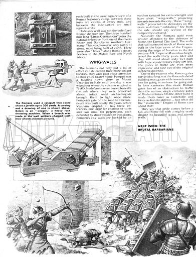 The Defenders: Towers of Strength. (Top) Roman catapult; (Centre) An Onager, a heavy rock throwing machine; (Bottom) Soldiers charging a breach in a wall.