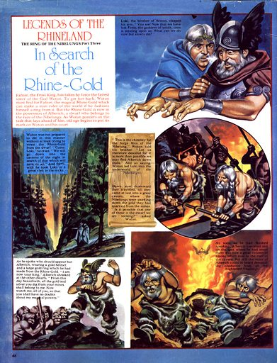 Legends of the Rhineland: In Search of the Rhine-Gold. Alberich makes a golden helmet and ring from the Rhine-Gold he has stolen.