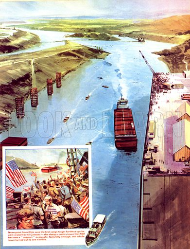 Modern Marvels: Ships Among the Corn. The town of Catoosa became a seaport overnight with the creation of a vast canal from the Mississippi. (Inset) The whole town turned out to see the first cargo -- newsprint from Ohio -- arrive.