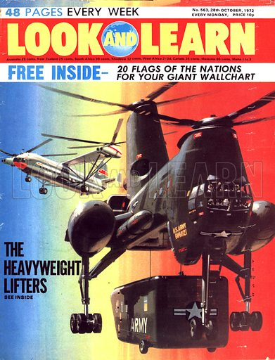 The Heavyweight Lifters. The Boeing HLH and (background) Russian Mil V-12 heavy lifting helicopters.