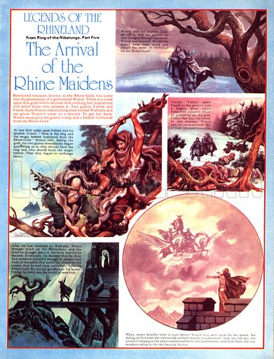 Legends of the Rhineland: The Arrival of the Rhine Maidens. Woton gives the Frost Giants the gold and saves his sister.
