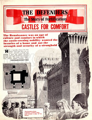 The Defenders: Castles for Comfort. The Castello d'Este in Ferarra, northern Italy with (inset) a plan of its layout.