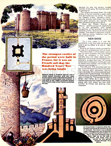 The Defenders: Castles for Comfort. (Top) Bodlum Castle with (inset) plan of its layout; (Bottom) At Troyenstein castle in Austria the only entrance was a doorway high up in the side of a tower, reached by basket with (inset) cross-sections of the castle.