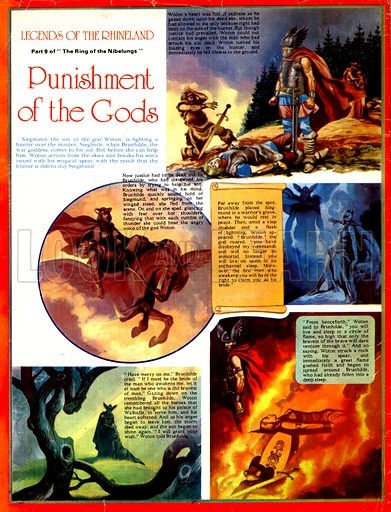 Legends of the Rhineland: Punishment of the Gods. Woton curses Brunhilde to sleep in a circle of flame for her part in the death of his son, Siegmund.