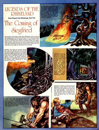 Legends of the Rhineland: The Coming of Siegfried. Brunhilde is condemned to sleep in a ring of fire until a hero braves the fiery barrier to rescue her.