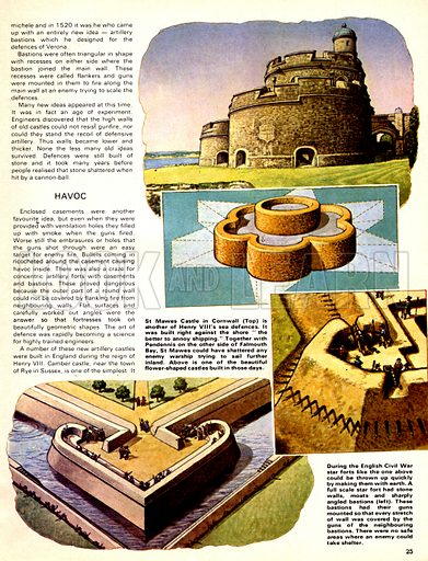 The Defenders: The New Gunpowder Terror. St Mawes Castle in Cornwall with (inset) its design; (bottom) examples of star forts which could be quickly constructed out of earth (inset) although they were usually made of stone and had moats nad angled bastions on which guns could be mounted.