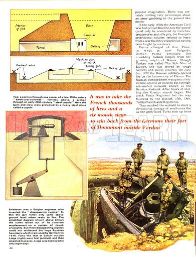 """The Defenders: Terror in the Trenches. Cross sections of examples of """"earth-over-concrete"""" fortresses; (bottom) One of the forts at Lancin outside Liege during the First World War."""