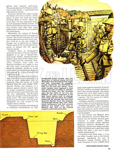 The Defenders: Terror in the Trenches. Trench systems were widely used during the First World War with (bottom) cross section of trench.