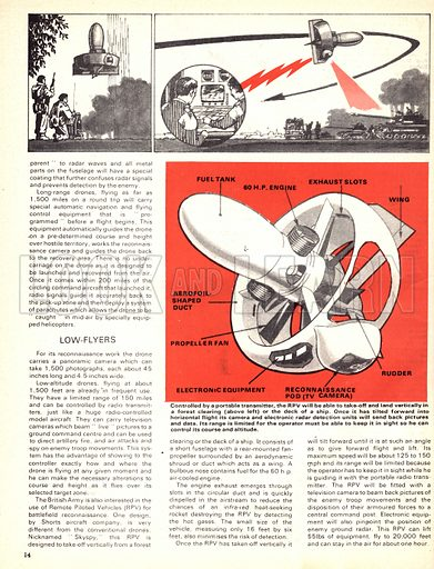 Modern Marvels: High-Flying Spies. Cutaway of a Remote Piloted Vehicle (RPV), which is controlled using a portable transmitter.