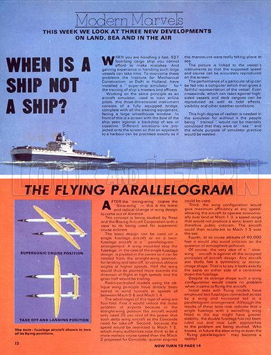 Modern Marvels: When Is a Ship Not a Ship? (driving simulators for cargo ships) plus The Flying Parallelogram (slew-wing aircraft).