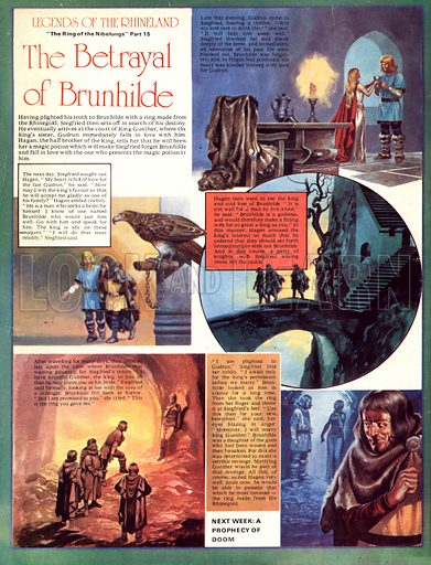 Legends of the Rhineland: The Betrayal of Brunhilde. Siegfried announces that he is to marry Gundrun and Brunhilde throws back the ring, announcing that she will marry Gunther.