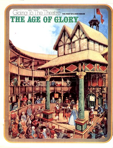 Going to the Theatre: The Age of Glory. The stage of the Globe Theatre jutted out into the open yard so that actors were surrounded on three sides by the audience. It cost a penny to stand in the yard and more to sit in one of the covered galleries.