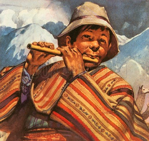 In the high Andes mountains of South America, Peru, this man plays a jolly tune on his flute.