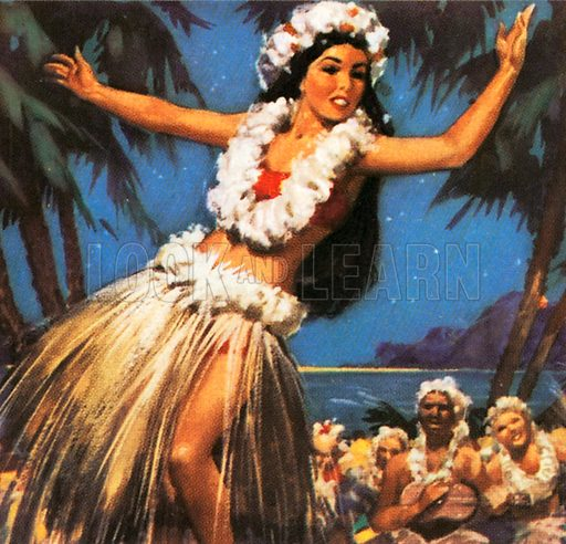 Hawaiian dancer is performing a hula, a traditional dance of the Pacific islands.