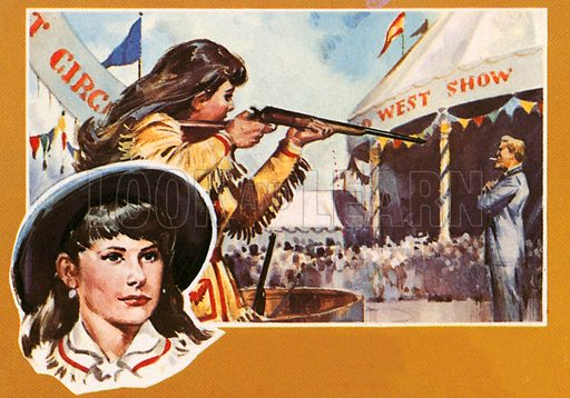 "Annie Oakley. A famous American musical play ""Annie Get Your Gun"" was based on the life of this young girl from Ohio who could shoot ash off a cigarette. The real Annie learned to shoot in the Ohio backwoods and later toured with Buffalo Bill's Wild West Show."