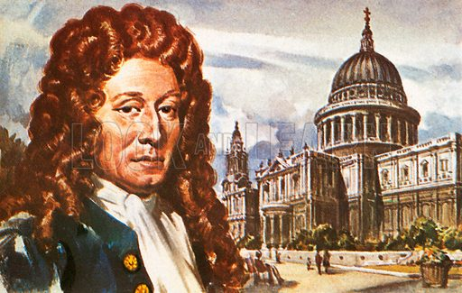 Sir Christopher Wren was the architect of St. Paul's Cathedral and many other famous buildings. He was the greatest and most celebrated of all British architects, and his London masterpiece can be seen in the background of the picture.