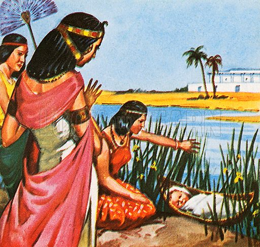 The picture shows an Old Testament story that takes place in ancient Egypt. The Pharaoh's daughter is discovering a Jewish child, Moses.