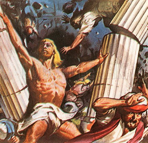 The picture shows an Old Testament character who was famed for his great strength. Samson destroyed the Temple of the Philistines, and himself in it.