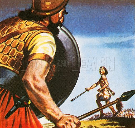 The picture shows the Old Testament story of a young boy David fighting with a giant. David killed Goliath, the champion soldier of the Philistines with a small pebble shot from a sling.