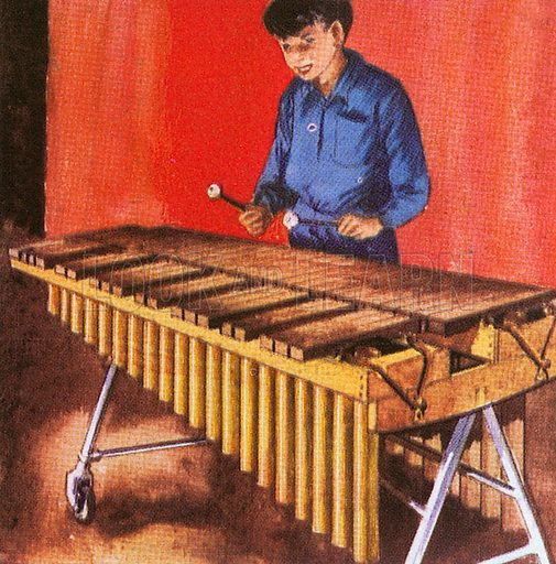 The xylophone consists of wooden bars which are hit with hammers. The name of this instrument comes from the Greek word for wood. It is like the African marimba.