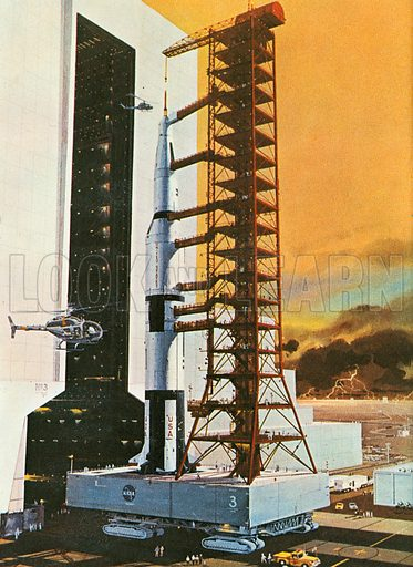 The United States' Apollo space program sent rockets to the moon. The picture shows the 370 foot rocket emerging from its hangar. The Apollo program used the Saturn-5 multi-stage liquid fuel rocket designed by Wernher von Braun the famous German-born rocket scientist. Its hangar was the world's largest building by volume.