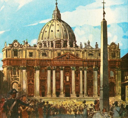 St. Peter's Cathedral, or Basilica, is an important monument. It stands in Vatican City in Italy, which is ruled by the Pope, the head of the Roman Catholic Church.