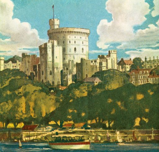 Windsor Castle is regularly used by the British monarch for ceremonial and private functions. It overlooks the River Thames.