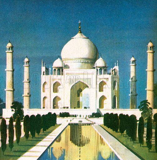 "The Taj Mahal was built in the 17th century by a crew of over 20,000 workers. ""Mahal"" is the Hindi word for a palace.  This beautiful shrine was built by the Mogul emperor Shah Jehan in memory of his wife Mumtaz."