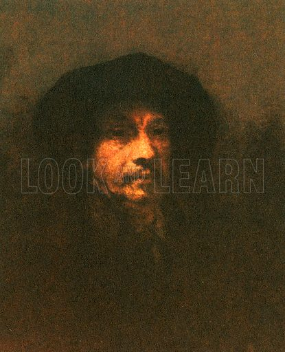 Rembrandt van Ryn, self portrait. He died in poverty in 1669, but is now the most famous Dutch artist of his age.