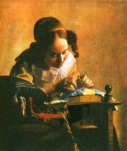 Jan Vermeer is now known and respected in his own right. But for years his works changed hands under the names of more popular artists like de Hooch and Rembrandt. This picture is now exhibited at the Louvre in Paris. The girl in the picture is making lace.