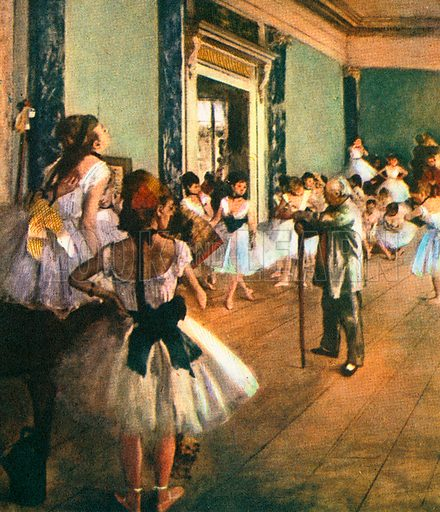 This picture is called The Dancing Lesson and is one of many ballet scenes painted by Edgar Degas.