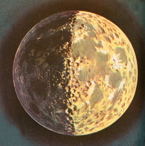 The moon is the earth's satellite and circles around it at an average distance of 239,000 miles or 384,000 km. Although the moon is made of much the same kind of material as the earth, there is no air or water, so that it cannot contain any known life. The moon is just over one-third the size of the earth. It takes between 27 and 28 days to travel round the earth. Each orbit of the moon takes one lunar month. Lunar months determine the phases of the moon and the cycle of the ocean tides.
