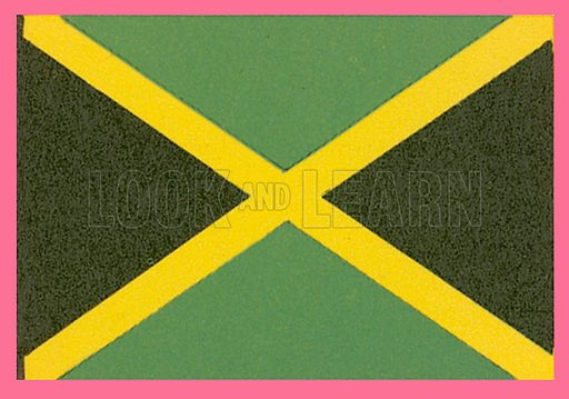 Jamaica, the flag was adopted in 1962. Black symbolizes the strength and creativity of the Jamaican people. Gold represents sunlight and the country's natural wealth. Green represents hope for the future and agricultural richness.