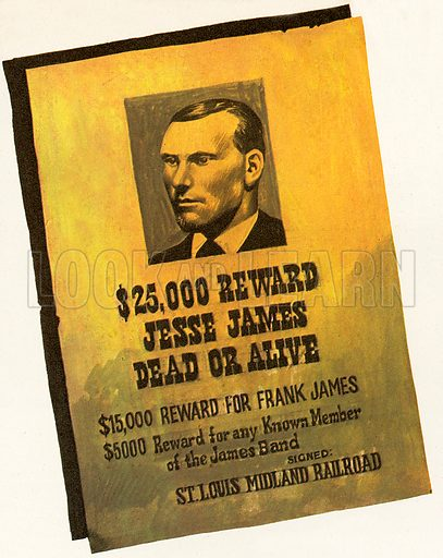 Jesse James and his brother Frank James were sons of a Baptist minister who became outlaws in the Wild West after the American Civil War. The reward for Jesse James was claimed by Bob and Charley Ford, two men James had thought he could trust. They shot him while he was dusting a picture in his home.